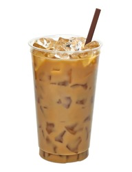 Iced coffee in disposable to go cup / coffee latte in take away or to go cup isolated on white background including clipping path