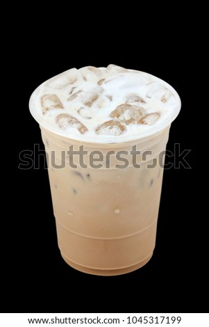 Iced coffee in plastic cup isolated on black background / coffee sweet #1045317199