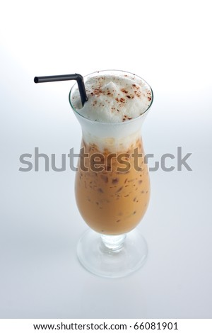 iced coffee Latte with whipped cream isolate on white background.