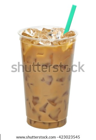 Iced coffee or caffe latte in takeaway cup including clipping path