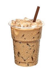 Iced coffee with brown straw isolated on white background including clipping path