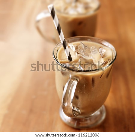 Iced coffee with copyspace composition