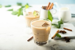 Iced coffee with spices and milk