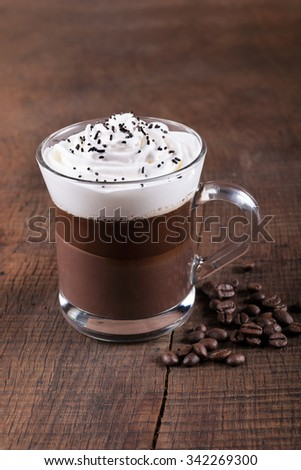 Iced coffee with whipped cream  #342269300