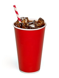 Iced cola with straw in blank paper cup on white background packaging template mockup collection with clipping path