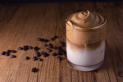 Iced Dalgona Coffee, a trendy fluffy creamy whipped coffee