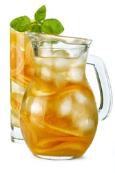 iced drink with orange and mint isolated on white background