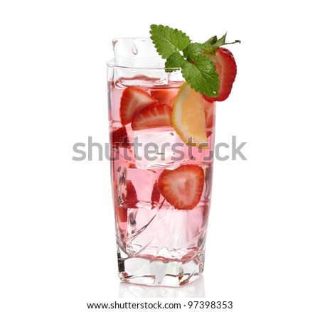 Iced Drink With Strawberry And Lemon - stock photo