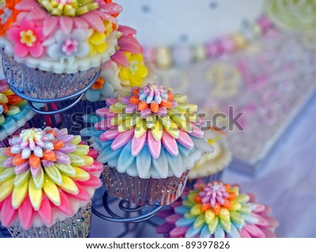 Iced fancy cakes - stock photo