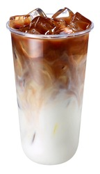 Iced latte on a white background