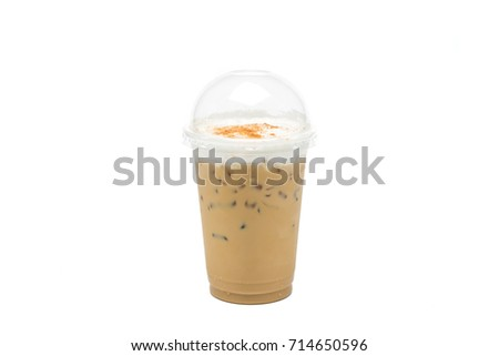 Iced latte or iced coffee in takeaway cup on white background #714650596