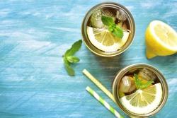 Iced lemon tea in a mason jar.Top view.