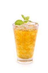 iced lemon tea isolated on white background