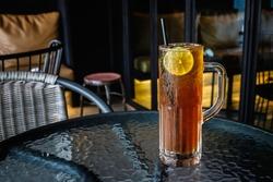 Iced lemon Tea on table in restaurant
