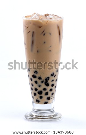 iced milk tea with bubble