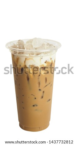 Iced Nes Tea coffee in takeaway cup and milk foam isolated on white background, macro. #1437732812