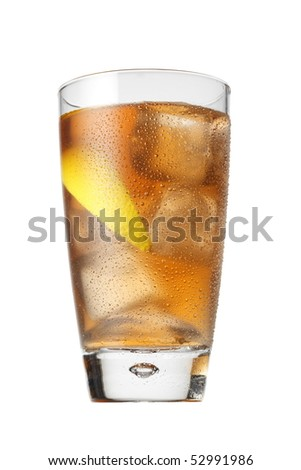 Iced tea beverage isolated on white. Different angles available