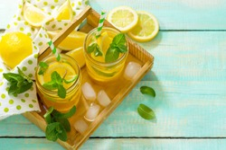 Iced tea with lemon and mint. Refreshing cold summer drink. Copy space.