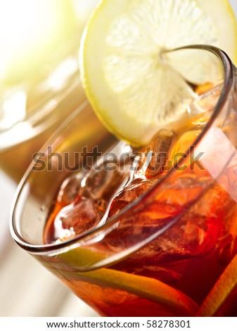 iced tea with sunlight