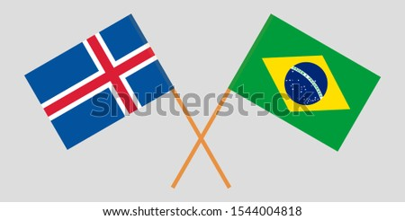 Iceland and Brazil. The Icelandic and Brazilian flags