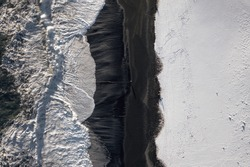 Iceland Black Sand Beach and Snow During the Winter Bird's Eye View