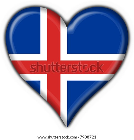 iceland button flag heart shape