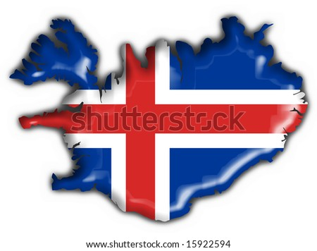iceland button flag map shape