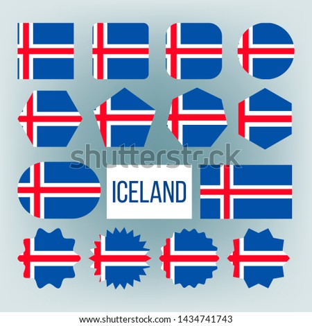 Iceland Flag Collection Figure Icons Set . Blue Field With White-edged Red Cross Extends To Edges, Vertical Part Is Shifted To Hoist Side On National Symbol Of Iceland. Flat Cartoon Illustration