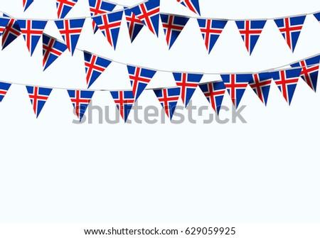 Iceland flag festive bunting against a plain background. 3D Rendering #629059925