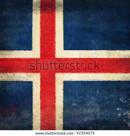 Iceland flag ,grunge and retro flag series
