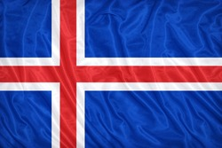 Iceland flag pattern on the fabric texture ,vintage style