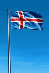 Iceland flag waving on the wind