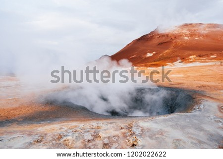 Iceland geothermal. Namafjall - area in field of Hverir. Landscape which pools of boiling mud and hot springs. Tourist and natural attractions