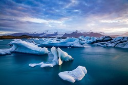 Iceland Glaciers. Icebergs calving into a lagoon near Vatnajökull on the south coast of Iceland. From a round trip on Iceland in summer of 2017