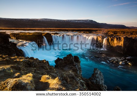 Iceland, Godafoss at sunset #350514002