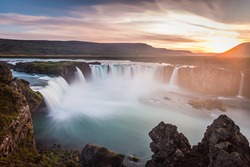 Iceland, Godafoss at sunset, long exposure, pacefull landscape scene