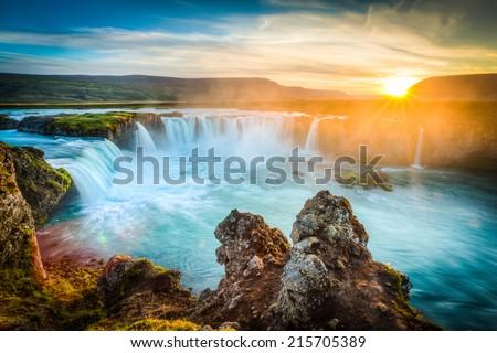 Iceland, Godafoss at sunset, long exposure, pacefull landscape scene #215705389