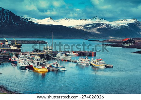 Iceland Harbor with Fishing Boats at Overcast Day
