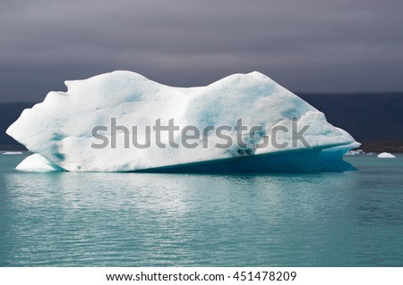 Iceland: iceberg in the Jokulsarlon glacier lagoon on August 19, 2012. Jokulsarlon is a glacial lake in Vatnajokull National Park developed after the glacier receded from the edge of Atlantic Ocean