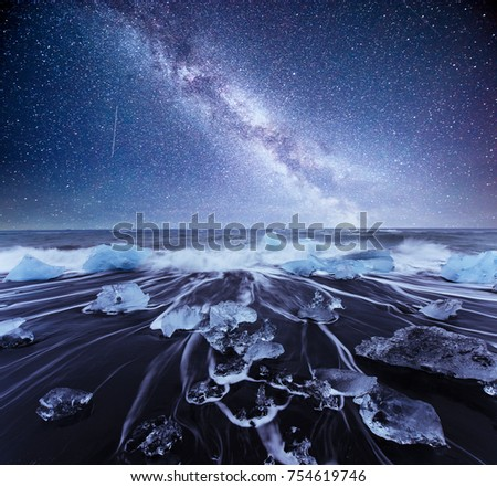 Iceland, Jokulsarlon lagoon, Beautiful cold landscape picture of icelandic glacier lagoon bay, Starry sky night. Fantastic milky way.