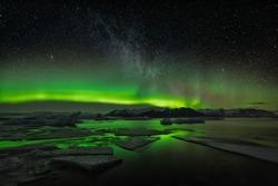 Iceland jokulsarlon Northen Lights Aurora
