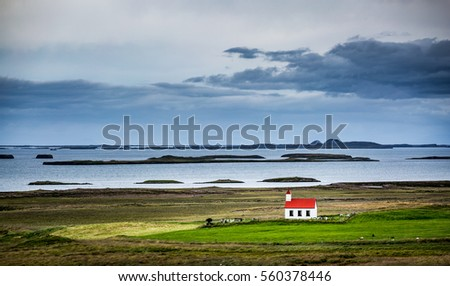 Shutterstock Iceland, lonely red church in the westfjords