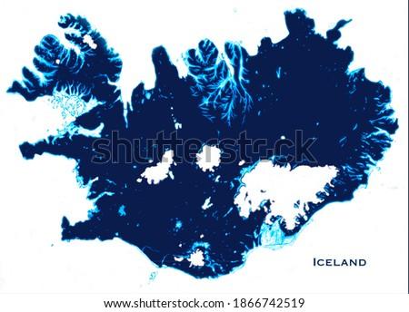 Iceland map art illustration blue white heart Stock fotó ©