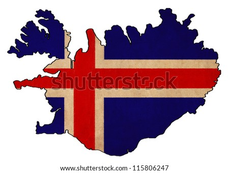 Iceland map on Iceland flag drawing ,grunge and retro flag series