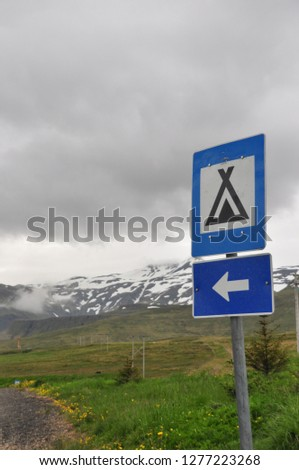 Iceland mountain and campsite sign #1277223268