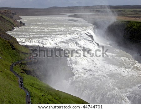 Iceland's most powerful waterfall Gullfoss (The Golden waterfall)