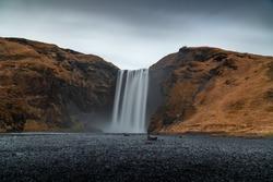 Iceland Skogafoss Waterfall long exposure cloudy day