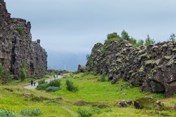 Iceland summer landscape. Thingvellir National Park - famous Icelandic area.