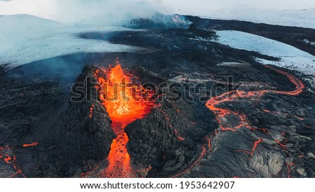 Iceland Volcanic eruption 2021. The volcano Fagradalsfjall is located in the valley Geldingadalir close to Grindavik and Reykjavik. Hot lava and magma coming out of the crater. Сток-фото ©