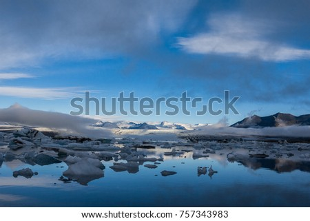 icelandic ice lagoon of jokulsarlon in the morning in summer #757343983